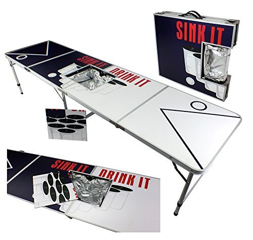Beer Pong Sink Drink (NEW ICE BAG ICY CHEST COOLER BEER PONG TABLE 8' ALUMINUM PORTABLE ADJUSTABLE FOLDING INDOOR OUTDOOR TAILGATE DRINKING PARTY GAME SINK IT DRINK IT)