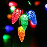 RECESKY C6 Christmas Lights with Timer - 30 LED 12.8ft Battery Operated Strawberry Mini String Light for Outdoor, Indoor, Patio, Wreath, Party, Xmas Decor, Christmas Tree Decorations - Multi Color