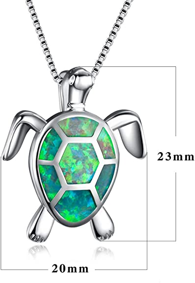 Women Silver Plated Filled Blue Opal Ocean Sea Turtle Dolphin Pendant Necklace
