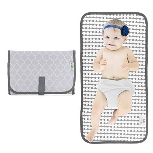 (Baby Portable Changing Pad, Diaper Bag, Travel Mat Station, Grey Compact)