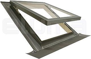 Dachfenster + Eindeckrahmen modell COMFORT VASISTAS/Zertifizierte und hoch isolierenden Klappfenster/Hagelschutzglas + Sicherheitsglas/Aluminium und lackiertem Tannenholz (55x78 Breite x Höhe)