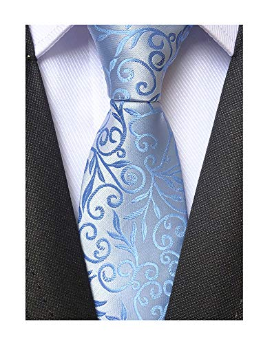 Mens Sky Blue Silver Ties Floral Fashion Woven Silk Party Formal Neckties ()