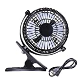 AMPERSAND SHOPS 7'' 2-Speed Clip Cooling Fan 360-Degree Rotation Power Cord USB Plug