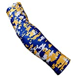 Nexxgen Sports Apparel Moisture Wicking Compression Arm Sleeve (Single) - Men, Women & Youth - 40 Colors - Digital Camo & Elite (Youth Large, Royal Blue/Yellow/White)