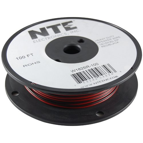 Parallel Bonded Wire - NTE Electronics W122BR-100 Series BR PVC Bonded Parallel Speaker Wire, Type 12/2 Gauge, Stranded, 100' Length, Black/Red