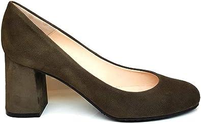 TALLA 43 EU. Viva - Salones Zapatos de Vestir para Mujer en Piel con Punta RedondaTacon Ancho de 7 cm - Forro de Piel - Moda Tacones Stilettos Elegantes - Piel