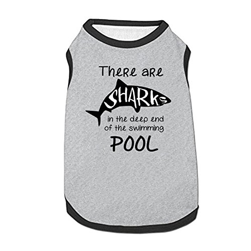 - HUAH There Are Sharks In The Deep End Of The Swimming Pool Pet Clothes Vest Small Dogs T-shirt Cat Puppy Sleeveless Costumes