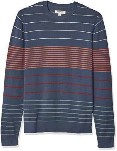 Multi Color Pullover - Goodthreads Men's Soft Cotton Multi-Color Striped Crewneck Sweater, Navy Desert, X-Large Tall