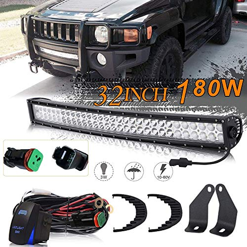 KEENAXIS DOT Approved 32 Inch 180W Curved LED Light Bar + 2Pcs Front Lower Hidden Bumper Mounting Brackets + Rocker Switch DT Connector Wiring Harness Kit + 1x Rocker Switch for 2006-2010 Hummer H3