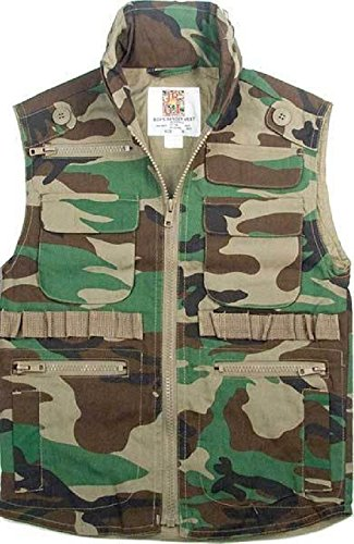 Woodland Camouflage Ranger Vest - Camouflage Kids Military Tactical Ranger Vest With Hood