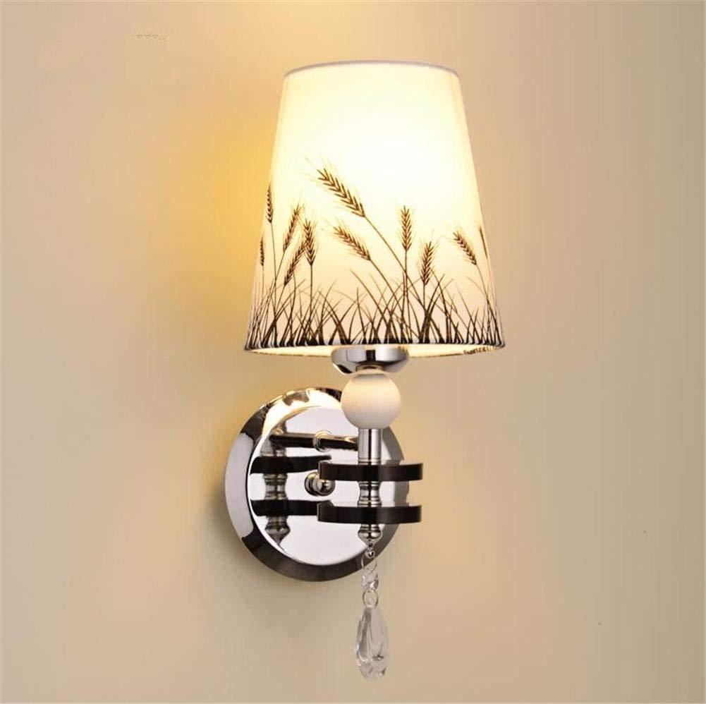 Moderne Wandleuchte innen einem Kopf Edelstahl Wandleuchte Wandleuchte Nachttischlampe mit weißen Muster Stoff Lampenschirm und Crystal Dekoration für Schlafzimmer Wohnzimmer Flur