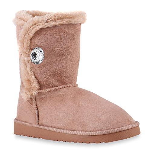 Warm Gefütterte Boots Schlupfstiefel Strass Blumen Schleifen Pailletten Schuhe Kunstfell Stiefel Nieten Booties Winterstiefel Flandell Rosa Knopf Kristall