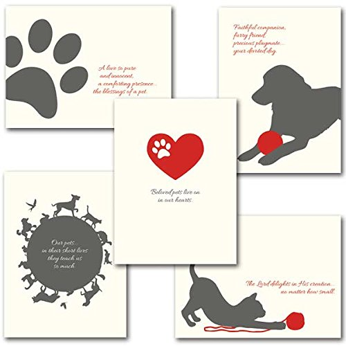 Pet Sympathy Deluxe Religious Greeting Cards with Embossed Envelopes 10 Total