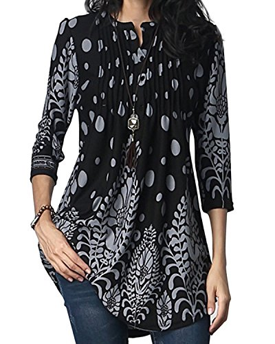 GZBQ Womens Crewneck Floral Tunic Top Blouse Button for sale  Delivered anywhere in Canada