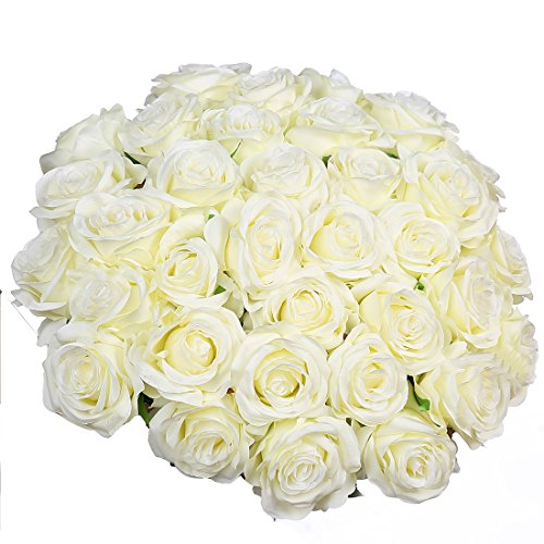 Silk Decor Flowers (Artificial Flowers Silk Roses Real Touch Bridal Wedding Bouquet for Home Garden Party Floral Decor 10 Pcs (White curved stem))