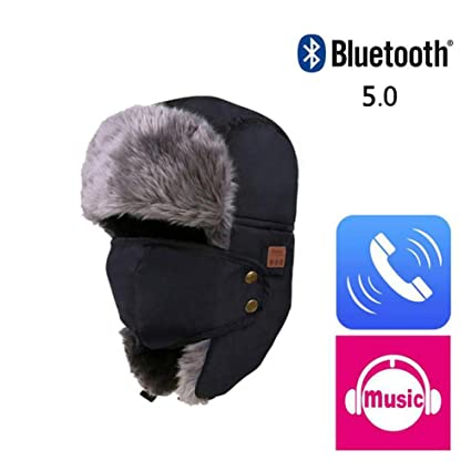 2074b1c98 CTlite Bluetooth Trapper Hat, Unisex Winter Hunting Hat Fur Snow Hat Skiing  Cap with Ear Flaps/Detachable Face Mask/Bluetooth 5.0 Headphones Headset ...