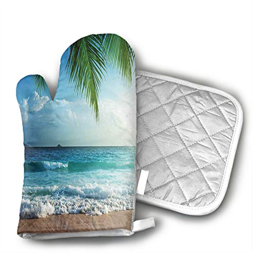 BBQGloves3 Palms Trees Tropical Island Beach Seashore Water Waves Hawaiian Nautical Marine Shaped Oven Mitts and Pot Holders Set of 2 for Kitchen Set with Cotton Non-Slip Grip