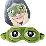 Product review for Sleep Masks,SMYTShop Green Cartoon Sad Frog 3D Eye Mask Cover Sleeping Eye Mask Shade Cover for Travel Relax Aid
