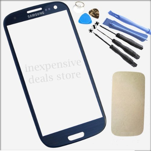 Price comparison product image Dark Blue Front Outer Lens Glass Cover Replacement For Samsung Galaxy SIV S4 GT-i9500+Tools+Adhesive