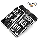 Manicure Pedicure Set Nail Clippers 18 in 1 Stainless Steel Professional Hygiene Kit - Toenail Clippers Includes Cuticle Remover with Portable Travel Case Beauty Care Tools (Black)