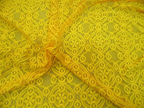 Discount Fabric Stretch Mesh Lace Yellow Embroidered Geometric Floral Sheer A603 ()