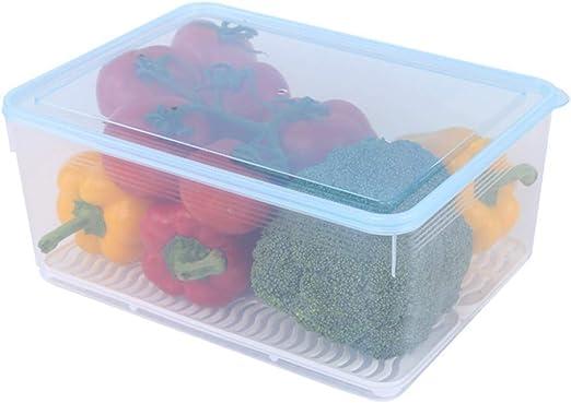 iSunday Comida Contenedores Transparente Caja Almacenaje Gran Capacidad Comida Caja Almacenaje Plástico Comida Huevo Fruta Sellado Caja - Desagüe, 8L: Amazon.es: Hogar
