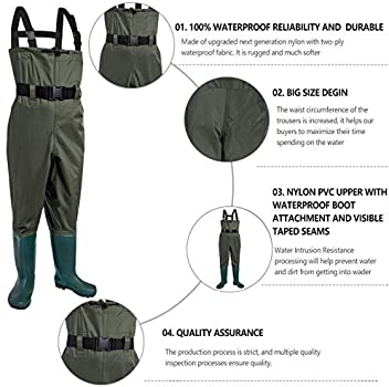 Nylon//PVC Fishing Hunting Waterproof Chest Waders w// Wading Boots For Men/&Women