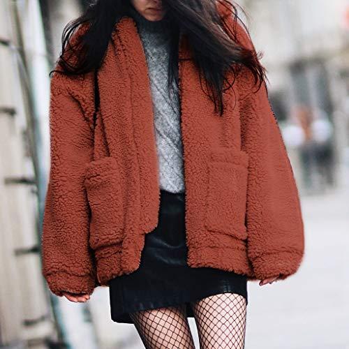 Hiver Manteau Solide profond Lapel Manteau Chaud en Veste Sweat Manteau Fourrure Fausse Femme camel Zipper rr4Uwq0