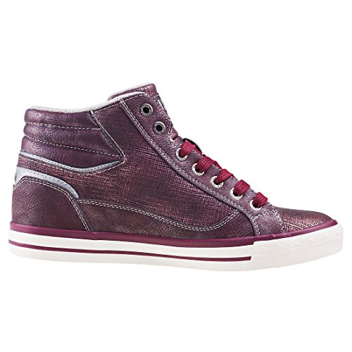 Damen Mustang Sneaker High Blau Bordeaux Top Uvdq86