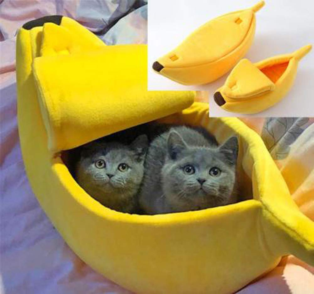Glumes Stylish Pet Dog Cat Banana Bed House Pet Boat Dog Cute Cat Snuggle Bed Soft Yellow cat Bed Sleep Nest for Cats Kittens Ideal (M, Yellow)
