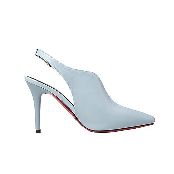 Vaneel Mujer qcfusp Tacón Embudo 12CM Cuero Ponerse Zapatos de tacón, Azul, 34