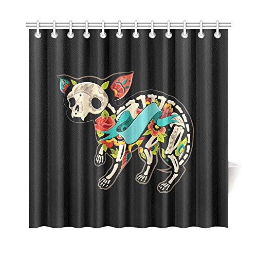 WUTMVING Home Decor Bath Curtain Greeting Card Dog Chihuahua Skeletons Floral Polyester Fabric Waterproof Shower Curtain for Bathroom, 72 X 72 Inch Shower Curtains Hooks Included (Skeleton Chihuahua)