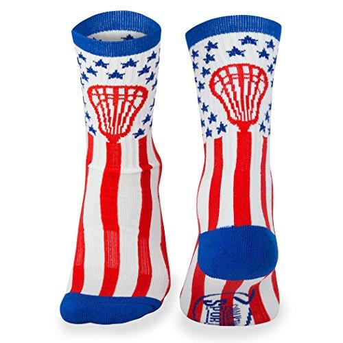 Athletic Half Cushioned Crew Socks | Mid Calf | American Lax Socks | Red/White/Blue