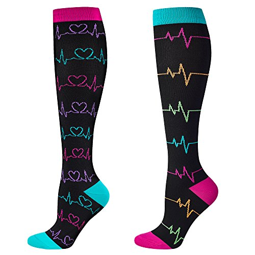 Compression Socks for Nurse(Women),2 pairs, Graduated 20-30 mmHg Knee High Stocking, Fits for Nurse, Doctor, and Pregnancy, Reduce Fatigue, Swelling, Shin Splints, Faster Recovery