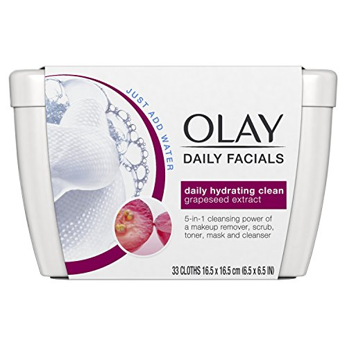Eye Makeup Remover Wipes by Olay Daily Facials, Soap-Free Cleanser Cloths, 33 Count (Pack of 3) Packaging may Vary