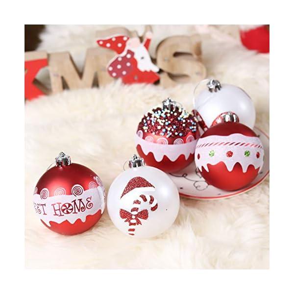 Valery Madelyn Palle di Natale 16 Pezzi 8cm Palline di Natale, Dolci Caramelle Rosse e Bianche Infrangibili Decorazioni per Palle di Natale per Decorazioni per Alberi di Natale 6 spesavip