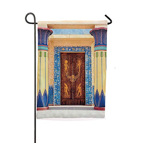 iPrintsophierhome Garden Banner Outdoor Flag Flags,Temple with Carving and Pattern on Old Religious,Holiday Decorations Outdoor Garden Decoration Digital Printing Flag -