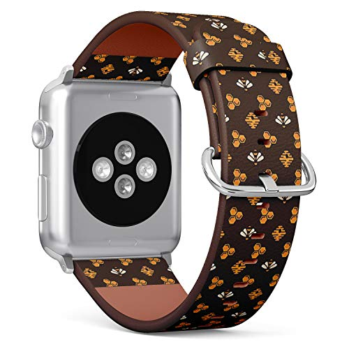 Compatible with Small Apple Watch 38mm & 40mm Leather Watch Wrist Band Strap Bracelet with Stainless Steel Clasp and Adapters (Yellow Bee Hive Honeycomb On)