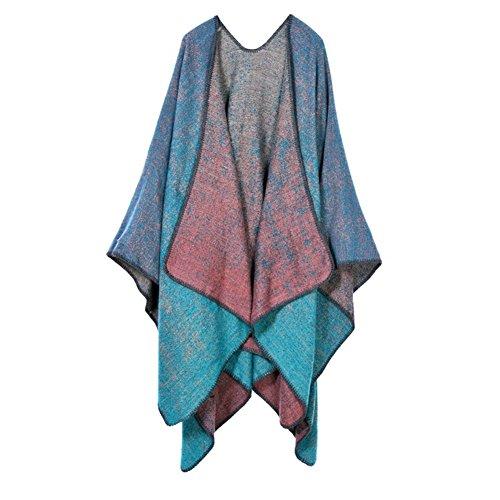 Aidonger - Poncho - trenca - para mujer azul claro