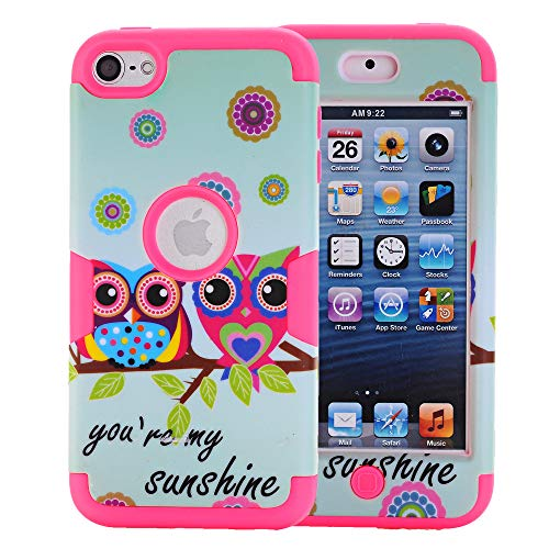 Rosepark iPod Touch 7th Generation Case, iPod Touch 5 case,iPod Touch 6 Case, Owls Pattern 3-Piece Style Hybrid Shockproof Hard Case Cover for Apple iPod Touch 5 6 7th Generation(Hot Pink)