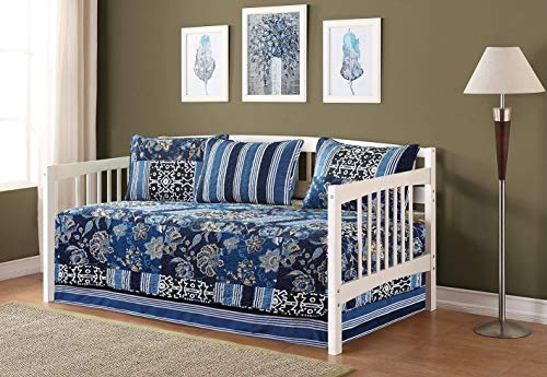 Fancy Collection 5pc Day Bed Cover Floral Navy Blue Black New 0074