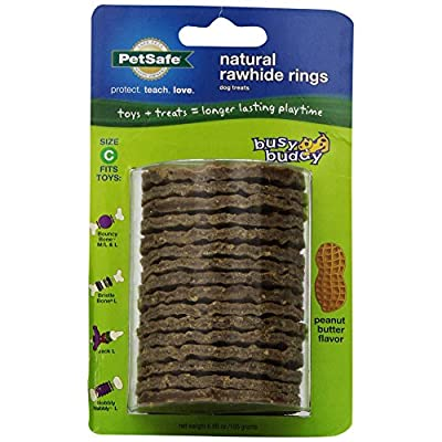 PetSafe Busy Buddy Refill Ring Dog Treats, Peanut Butter Flavored Natural Rawhide, Size C by PetSafe