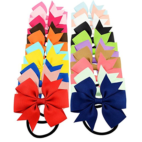 YOY 20 Pcs Fashion Baby Girls Boutique Hair Ties Ponytail Holders - Stretchy Elastic Ropes Rubber Bands Hair Accessories Set with Grosgrain Ribbon Bows for Toddlers Teens Kids