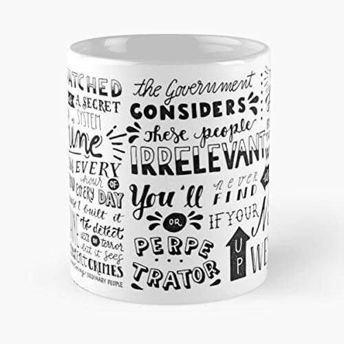Person Of Interest Machine Quote Harold Finch Coffee Mugs Unique Ceramic Novelty Cup