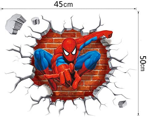 Q270w Spider Web Cartoon Kids Cool Smashed Wall Decal 3D Art Stickers Vinyl Room