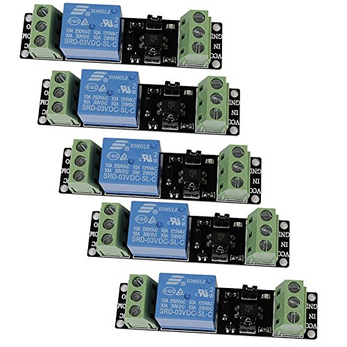 Icstation 3V 1 Channel Relay Power Switch Module with Optocoupler High Level Trigger for ESP8266 Development Board (Pack of 5) by IS