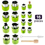 Gimars Large + Small Stainless Steel Cookie & Vegetable & Fruit Cutters Shapes Sets, Mini Cookie Stamp Mold, Sandwich Cutters for Kids Baking, Bento Box and Food Decoration Tools for Kitchen 7 ? 16 PCS 2 Size (8 large : 1.8 in x 2.1 in & 8 small : 1.2 in x 1.65 in.) ¡°One cookie to one kid¡± bite size deep shape mini cookie cutters for choices - The large cookie cutters are perfect to make bite size mini cookie,spritz cookies, decorations for cake, pie crust, gum paste work, craft projects, fondant cutouts,Pastry, mini-tart, etc. The small cookie cutters are great to cut shapes for kids lunch bento box, fruit and vegetable shapes,fruit platter, drinks garnishes etc ? Thicker non rusting stainless steel cookie cutters with fine welding seams to cut food clean without bending or falling apart - Thicker high quality package of food grade stainless steel and plastic silica gel material, not contain BPA. These kids mini cookie cutters are built to last for a long time and does not rust after cleaning. Sturdy and sharp to cut shapes clean with ease. These tiny cookie cutters shapes are very easy to use ? Thicker non rusting stainless steel cookie cutters with fine welding seams to cut food clean without bending or falling apart - Thicker high quality package of food grade stainless steel and plastic silica gel material, not contain BPA. These kids mini cookie cutters are built to last for a long time and does not rust after cleaning. Sturdy and sharp to cut shapes clean with ease. These tiny cookie cutters shapes are very easy to use