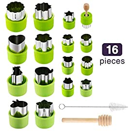 Gimars Large + Small Stainless Steel Cookie & Vegetable & Fruit Cutters Shapes Sets, Mini Cookie Stamp Mold, Sandwich Cutters for Kids Baking, Bento Box and Food Decoration Tools for Kitchen 5 ? 16 PCS 2 Size (8 large : 1.8 in x 2.1 in & 8 small : 1.2 in x 1.65 in.) ¡°One cookie to one kid¡± bite size deep shape mini cookie cutters for choices - The large cookie cutters are perfect to make bite size mini cookie,spritz cookies, decorations for cake, pie crust, gum paste work, craft projects, fondant cutouts,Pastry, mini-tart, etc. The small cookie cutters are great to cut shapes for kids lunch bento box, fruit and vegetable shapes,fruit platter, drinks garnishes etc ? Thicker non rusting stainless steel cookie cutters with fine welding seams to cut food clean without bending or falling apart - Thicker high quality package of food grade stainless steel and plastic silica gel material, not contain BPA. These kids mini cookie cutters are built to last for a long time and does not rust after cleaning. Sturdy and sharp to cut shapes clean with ease. These tiny cookie cutters shapes are very easy to use ? Coming with brush for cleaning and wood stick to push shapes out easily - If the fruit or dough gets stuck inside the cookie cutters, the wood stick could push out shapes directly and completely. With the brush, you could clean cookie cutters directly without taking apart the plastic holder. You could clean it by dishwasher. These shape cutters is dishwasher safe. NOTE: PLEASE DRY THE CUTTERS AFTER CLEANING FOR LONG TIME STORAGE.