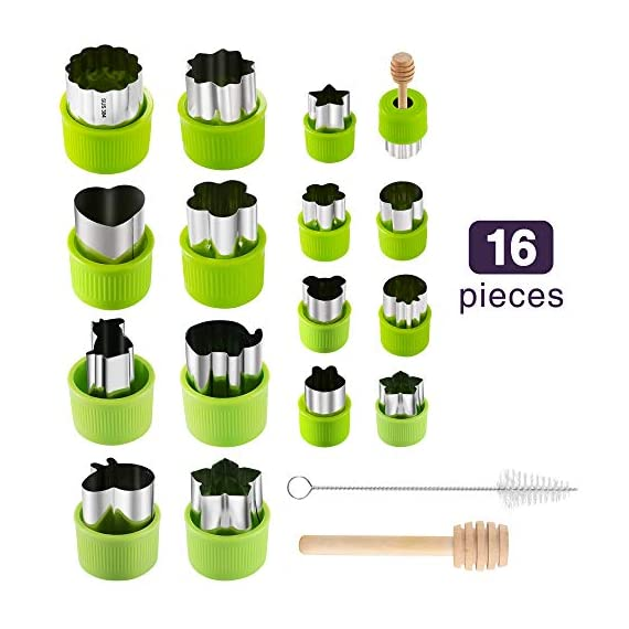 Gimars Large + Small Stainless Steel Cookie & Vegetable & Fruit Cutters Shapes Sets, Mini Cookie Stamp Mold, Sandwich Cutters for Kids Baking, Bento Box and Food Decoration Tools for Kitchen 1 ? 16 PCS 2 Size (8 large : 1.8 in x 2.1 in & 8 small : 1.2 in x 1.65 in.) ¡°One cookie to one kid¡± bite size deep shape mini cookie cutters for choices - The large cookie cutters are perfect to make bite size mini cookie,spritz cookies, decorations for cake, pie crust, gum paste work, craft projects, fondant cutouts,Pastry, mini-tart, etc. The small cookie cutters are great to cut shapes for kids lunch bento box, fruit and vegetable shapes,fruit platter, drinks garnishes etc ? Thicker non rusting stainless steel cookie cutters with fine welding seams to cut food clean without bending or falling apart - Thicker high quality package of food grade stainless steel and plastic silica gel material, not contain BPA. These kids mini cookie cutters are built to last for a long time and does not rust after cleaning. Sturdy and sharp to cut shapes clean with ease. These tiny cookie cutters shapes are very easy to use ? Thicker non rusting stainless steel cookie cutters with fine welding seams to cut food clean without bending or falling apart - Thicker high quality package of food grade stainless steel and plastic silica gel material, not contain BPA. These kids mini cookie cutters are built to last for a long time and does not rust after cleaning. Sturdy and sharp to cut shapes clean with ease. These tiny cookie cutters shapes are very easy to use