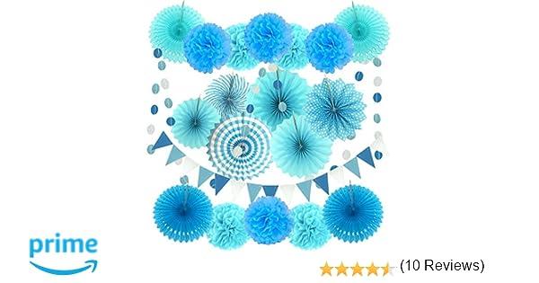 Zerodeco Decoración de la Fiesta, 21 Piezas Azul Abanicos de Papel Bola de Nido Pom Poms Ventilador Cumpleaños Boda Carnaval Bebé Ducha Home Party ...